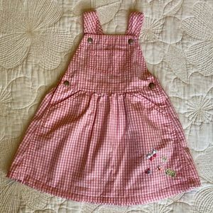 GAP Pink Check Overall Dress 18-24 mo.